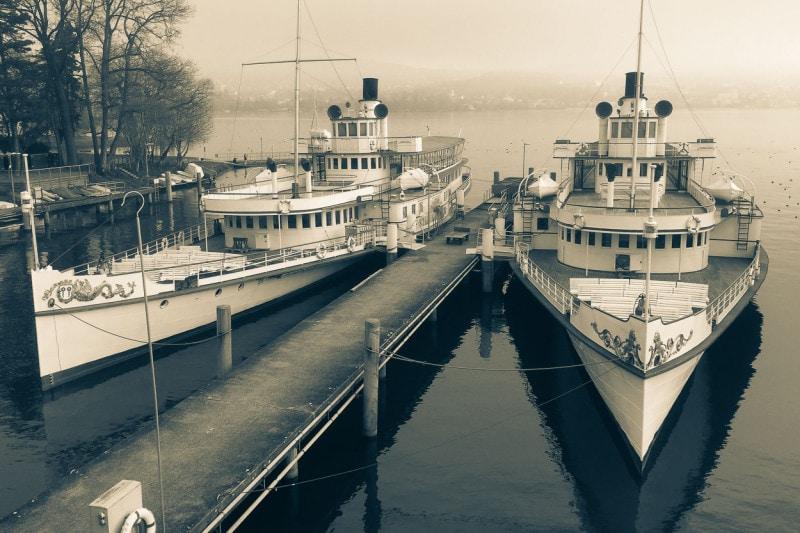 Zürichsee Dampfschiffe Stadt Zürich und Stadt Rapperswil in der ZGV-Werft