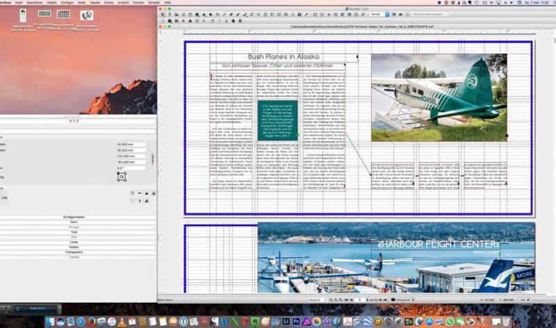 Screenshot einer fertigen Seite im Arbeitsmodus. Links die Informationsbox zum Bild.