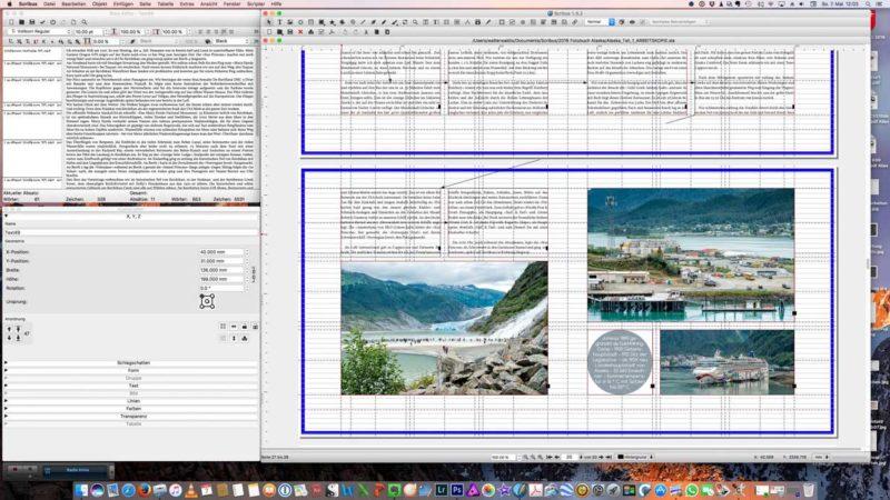 Screenshot einer fertigen Seite im Arbeitsmodus. Die Pfeile zeigen die Verkettung der Textrahmen.