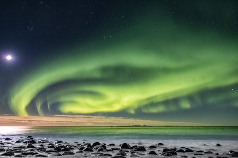 Polarlicht am Uttavlei, Lofoten, Norwegen