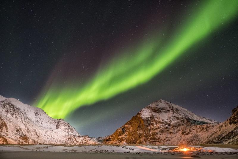 Polarlicht am Uttavlei, Lofoten, Norwegen. Copyright © 2018 Walter Waldis