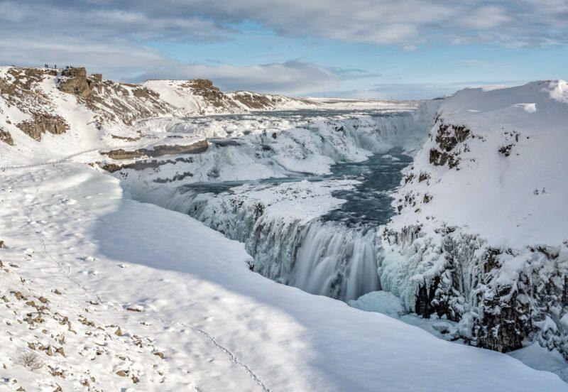 Gullfoss Wasserfall im Winter