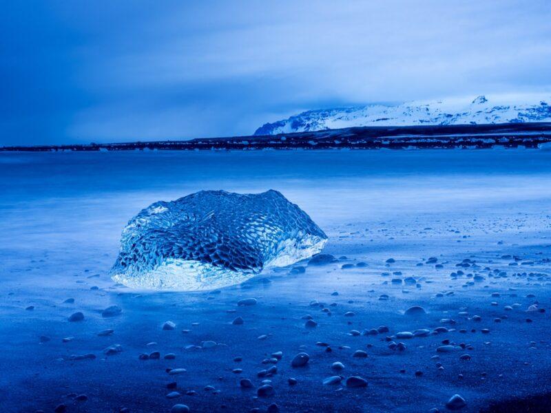Twilight at Diamond Beach, Jökulsárlón Glacier Lagoon, Iceland.  © Walter Waldis
