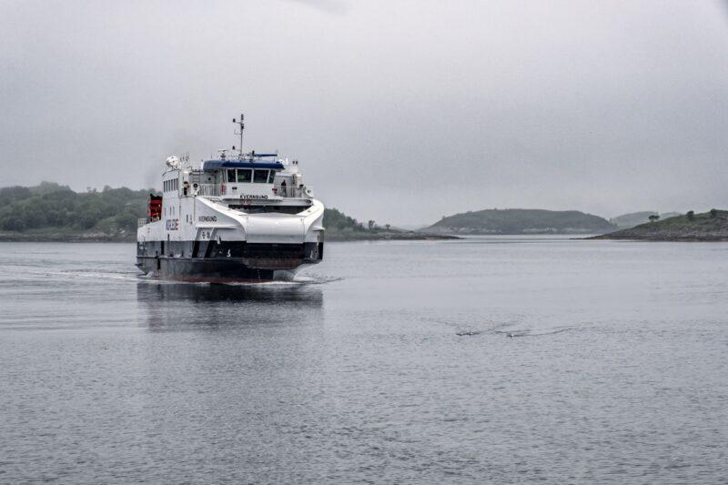 Ferry «Kvernsund» arriving at Brensholmen, Norway