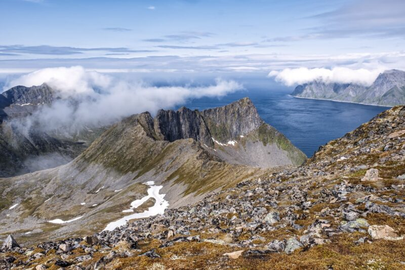 View from Husfjellet Peak (635 m), one of the most popular hiking mountains on Senja Peninsula, norway.