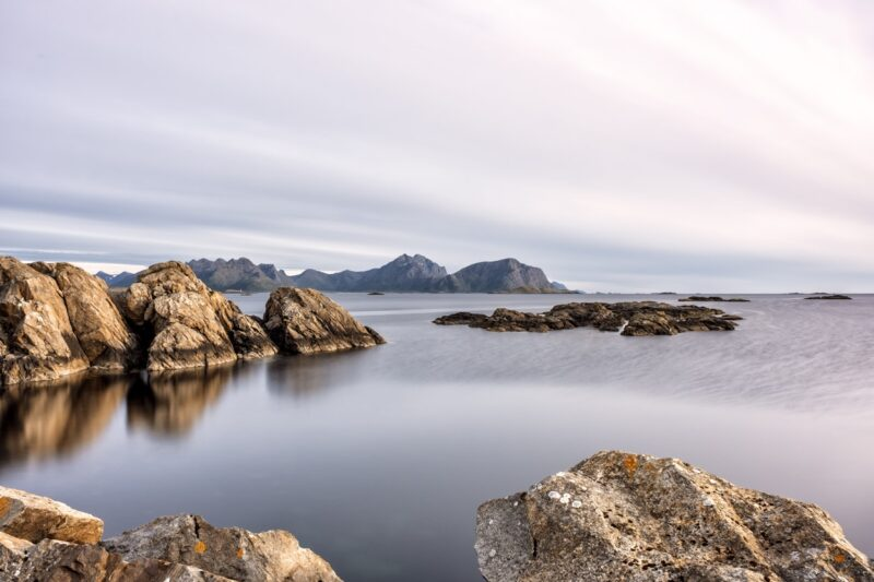 End of a beautiful day in Nyksund, Vesteralen Islands, Norway. Long exposure shot.