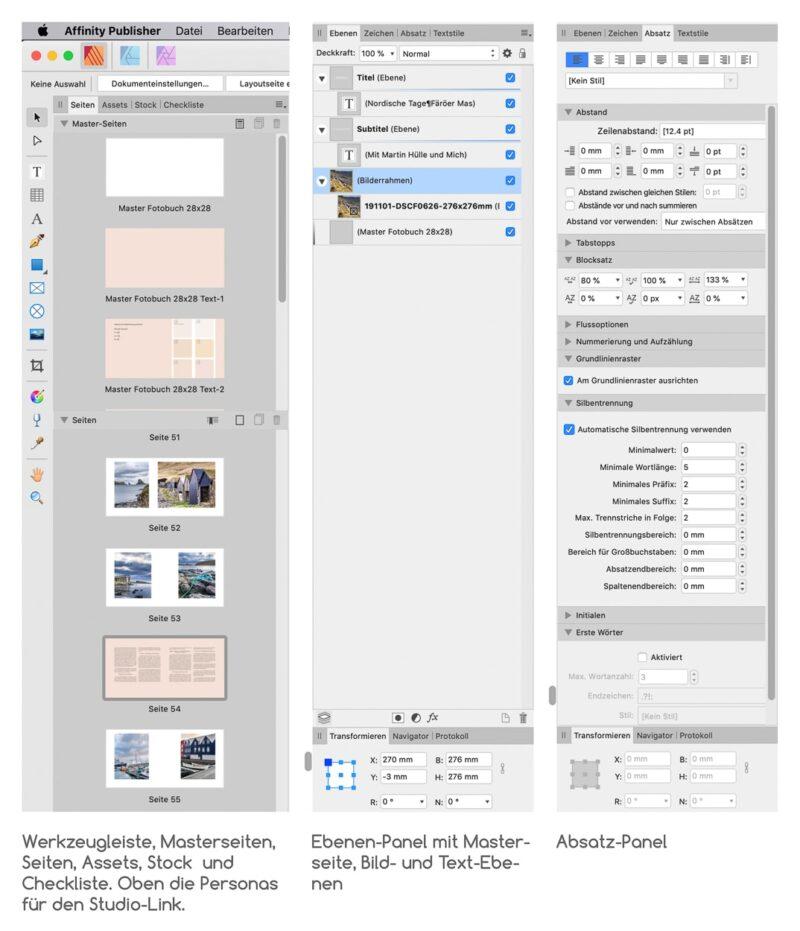 Affinity Publisher: Werkzeugleiste, Miniaturen für Masterseiten und Seiten, Ebenen-und Absatz-Panel.