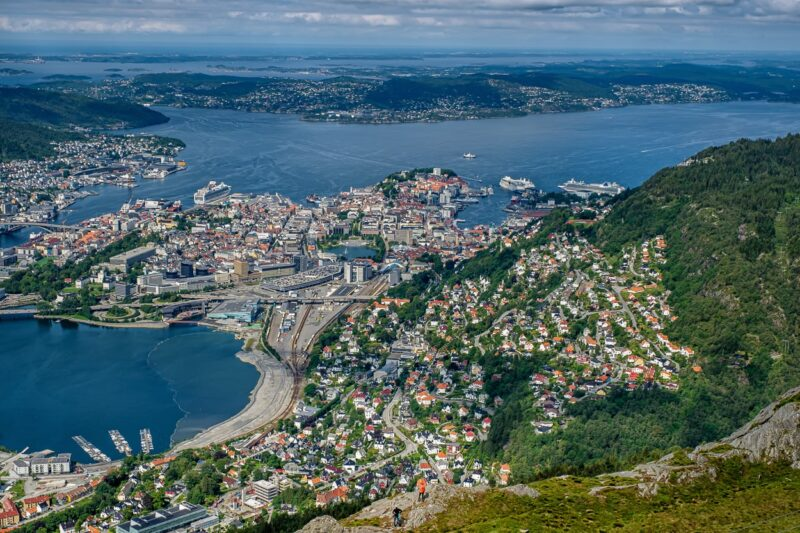 Bergen view from the 643 meter high Ulriken.