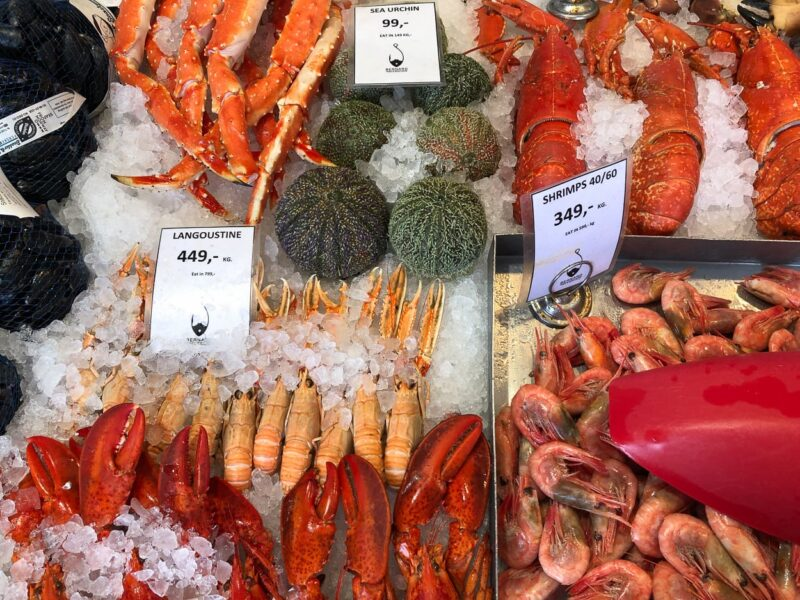Bergen's historic fish market is selling lobster, crab, mussels and more.