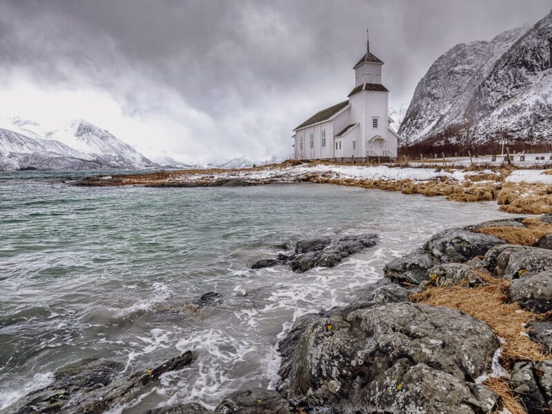 Stormy weather at Gimsøy church