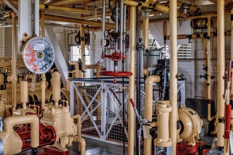 Im Maschinenraum, Kommandostand der S. S. Klondike, Whitehorse, Yukon, Canada.