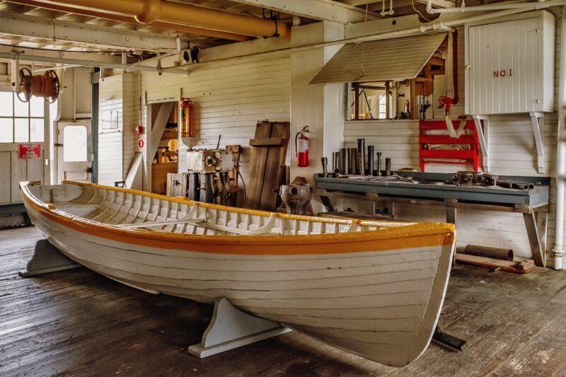 Boot auf dem Frachtdeck der S. S. Klondike, Whitehorse, Yukon, Canada.