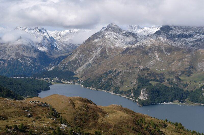 View down to Maloja lake and opposite mountains, Sils-Maria, Engadine, Switzerland